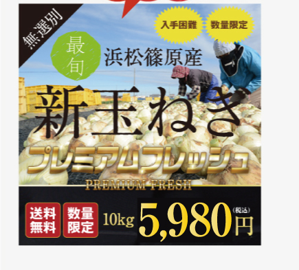 新玉ねぎ 浜松篠原産プレミアムフレッシュ10キロ